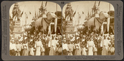 Funeral rites for a Buddhist Archbishop - coffin in elephant shaped car - Mandalay, Burma